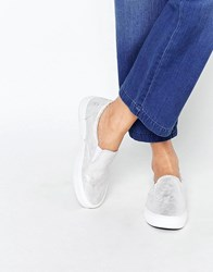 New Look Washed Metallic Slip On Trainer Silver