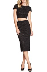 Women's Dress The Population 'Paloma' Sequin Knit Crop Top Black