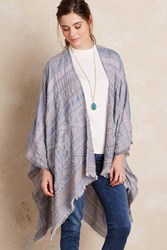Anthropologie Murano Beaded Shawl Blue Motif