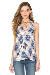 Bishop Young Crossover Plaid Blouse Blue