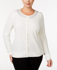 Karen Scott Plus Size Embellished Cardigan Only At Macy's Luxsoft White