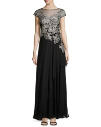 Teri Jon Embroidered Tulle Gown Black Silver
