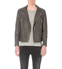 Allsaints Cargo Leather Biker Jacket Khaki