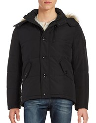 Calvin Klein Water Resistant Faux Fur Trimmed Hooded Parka Black