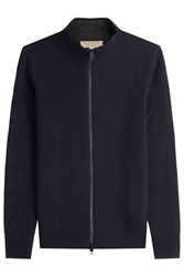 Burberry London Zipped Wool Cardigan With Cashmere Blue