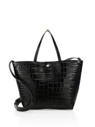 Elizabeth And James Eloise Croc Embossed Leather Tote Black