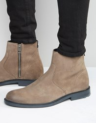 Hugo Boss Orange Cultroot Suede Zip Boots Beige