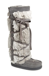 Manitobah Mukluks Genuine Rabbit Fur Tall Wrap Boot Women Charcoal