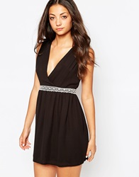 Love Cross Bust Dress With Lace Trim Black
