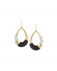 Alexis Bittar Lucite Colorblocked Teardrop Earrings Black