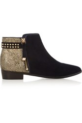 Yosi Samra Stud Embellished Metallic Cracked Leather And Suede Ankle Boots Navy