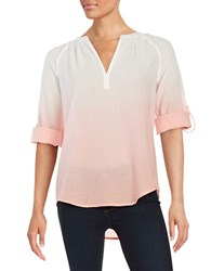 Lord And Taylor Ombre Cotton Shirt Grapefruit