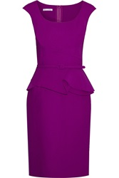 Oscar De La Renta Belted Wool Blend Peplum Dress Purple