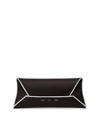 Vbh Metallic Trimmed Silk Clutch Bag Silver Black