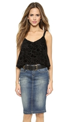 Twelfth St. By Cynthia Vincent Leather Strap Cropped Camisole Black