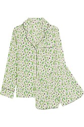 Stella Mccartney Poppy Snoozing Floral Print Stretch Silk Crepe De Chine Pajama Set Leaf Green