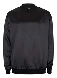 Topman Grey Aaa Black High Shine Baseball Long Sleeve T Shirt