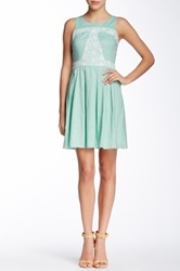 Doe And Rae Polka Dot Lace Trimmed Dress Green