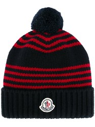 Moncler Striped Beanie Hat Blue