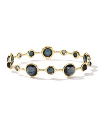 Ippolita 18K Rock Candy Open Lollipop Bangle In London Blue Topaz Gold
