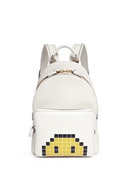 Anya Hindmarch 'Pixel Smiley Mini' Embossed Leather Backpack White
