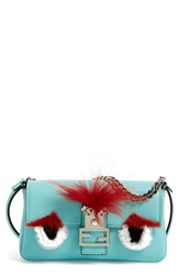 Fendi 'Monster' Genuine Rabbit Fur And Genuine Fox Fur Micro Baguette Blue Turquoise