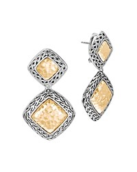 John Hardy Hammered 18K Yellow Gold And Sterling Silver Classic Chain Drop Earrings Silver Gold
