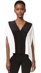 Derek Lam V Neck Poncho Blouse White Black
