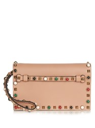 Valentino Rockstud Rolling Small Leather Clutch Beige