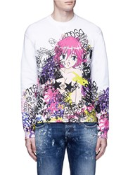 Dsquared Manga Print French Terry Sweatshirt Multi Colour