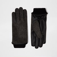 River Island Mens Grey Check Gloves