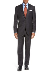 David Donahue Men's Big And Tall 'Ryan' Classic Fit Plaid Wool Suit Brown