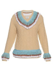 Hillier Bartley Fringed Cashmere And Cotton Blend Cricket Sweater Cream