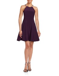 Betsy And Adam Embellished Fit Flare Dress Plum Amethyst