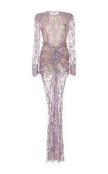 Alessandra Rich Long Sleeve Lace Gown Purple