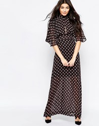 Liquorish Kimono Sleeve Maxi Dress In Ditsy Print Black