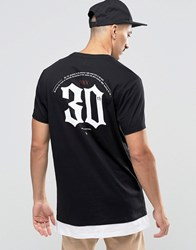 Asos Super Longline T Shirt With Gothic Text Street Print And Contrast Hem White