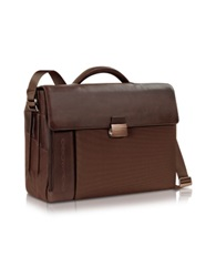 Piquadro Pq7 Triple Gusset Nylon And Leather 15 Laptop Briefcase Orange
