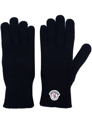 Moncler Logo Plaque Gloves Blue