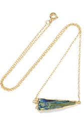 Dara Ettinger Gold Tone Kyanite Necklace Blue