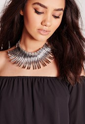 Missguided Statement Choker Silver Grey