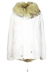 Mr And Mrs Italy Fox Hooded Parka White