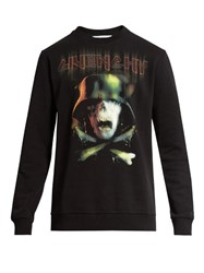 Givenchy Army Skull Print Crew Neck Sweatshirt Black
