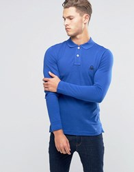 United Colors Of Benetton Long Sleeve Pique Polo Shirt In Muscle Fit Blue 366