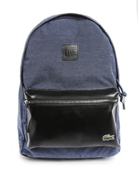 Lacoste Blue Backpack With Black Detail On Pockets