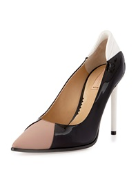 Reed Krakoff Academy Patent Leather Pointed Toe Pump Nude Black