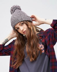 Asos Short Turn Up Pom Beanie With Rib Turn Up Red