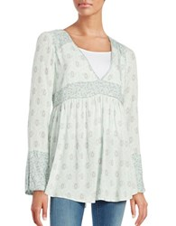 Free People Rolling Hill Empire Waist Long Sleeve Top Green