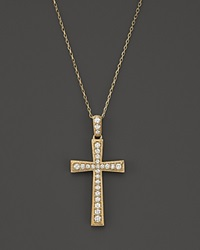 Bloomingdale's Diamond Cross Pendant Necklace In 14K Yellow Gold .70 Ct. T.W. White Gold