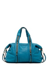 Urban Expressions Peoria Zip Vegan Leather Satchel Blue